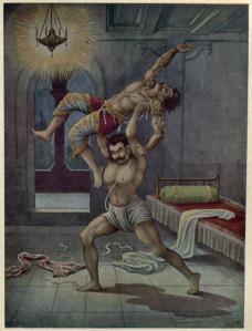 Bhima killing Kichaka with his bare hands