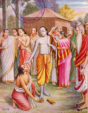 Bharata falling at Rama's feet and requesting him to come back to Ayodhya