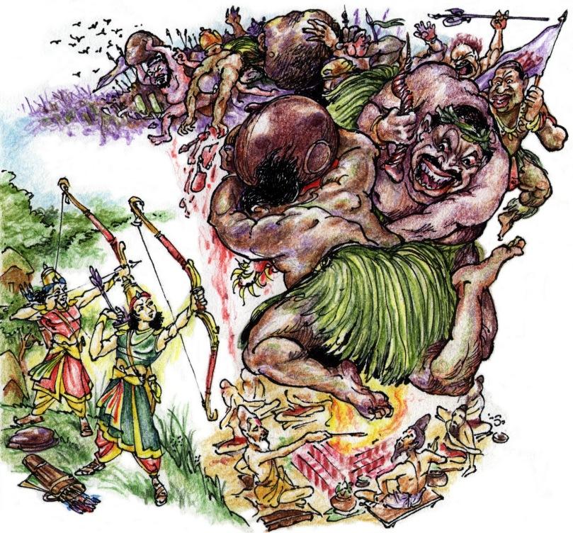 Image courtesy: kamadenu.blogspot.com Maricha and Subahu attacking the yajna
