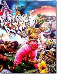Krishna approaches Bhishma with the Sudarsana Chakra